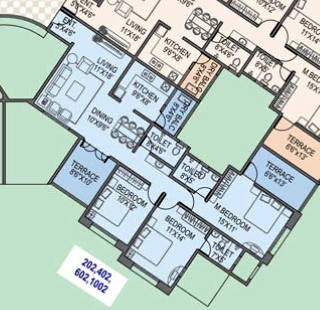 Paranjape Schemes' Gloria Grace E Wing 3 BHK Flat 1060 Carpet + 170 Terrace for Rs. 75.22 Lakhs