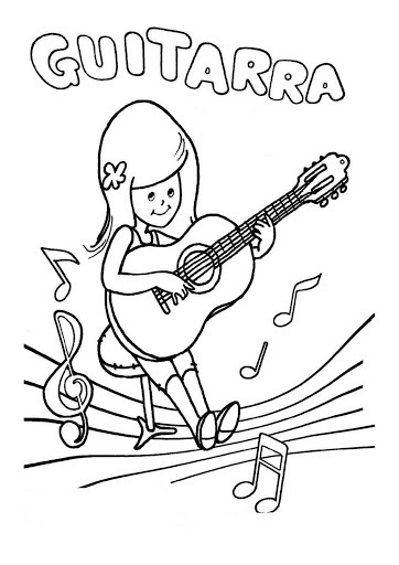 La Guitarra Para Colorear