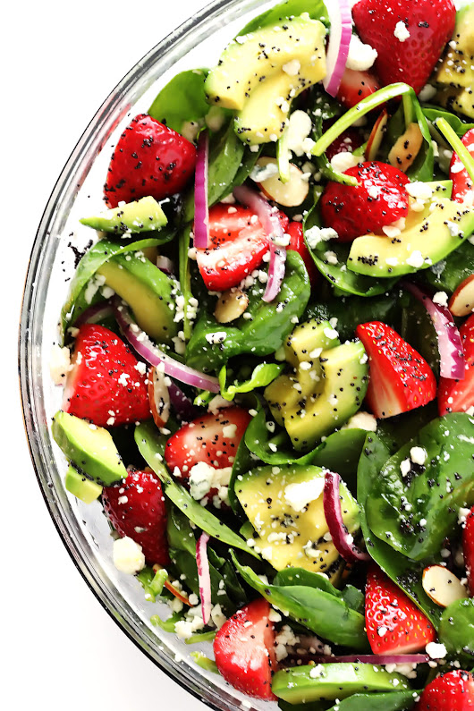 Strawberry Avocado Spinach Salad with Poppyseed Dressing