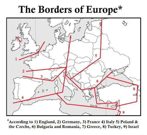 The Borders of Europe* midafternoonmap:   I didn't think this was quite as interesting as the last somewhat similar map i posted, but since the subject came up quite a bit in the comments i thought id post it as well.