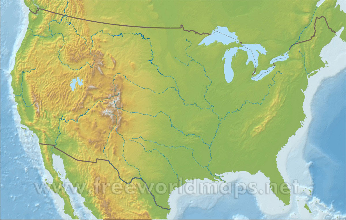 Blank Physical Map Of The United States | World Map Gray