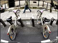Bikes at a Velib station