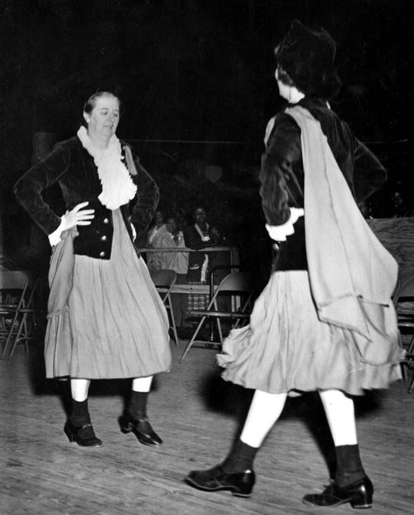 May Kennedy Kane and another woman perform an Irish Jig at the Florida Folk Festival- White Springs, Florida
