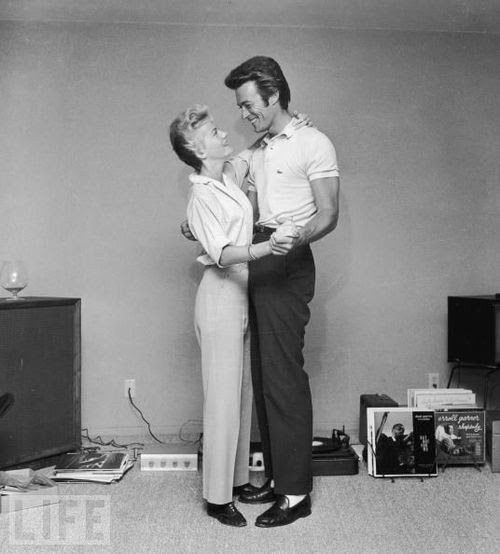 Clint Eastwood with his first wife Maggie, 1965
