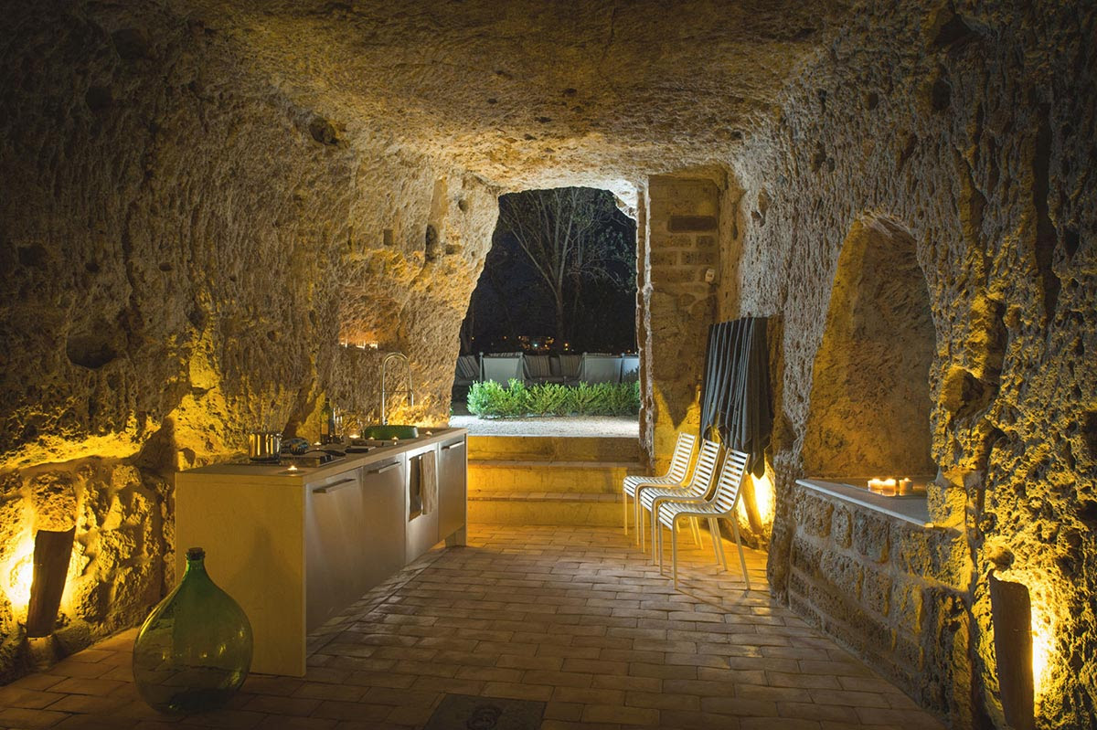 Renovation Civita di Bagnoregio Italy Cave Kitchen