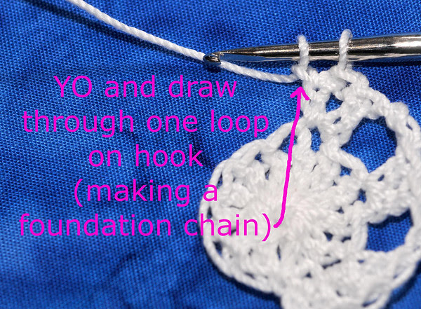 YO and draw through one loop on hook to make a foundation chain.
