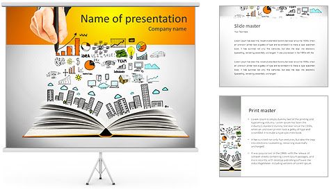 Hand drawing business concept and open book PowerPoint Template
