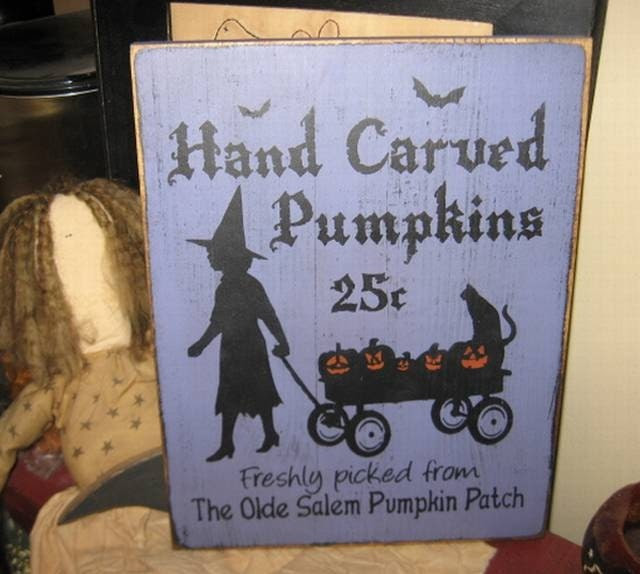 Pumpkins For Sale Witch Wiccan Handpainted by thehomespunraven
