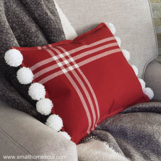 Christmas Pom Pom Pillow - From Placemats - Small Home Soul