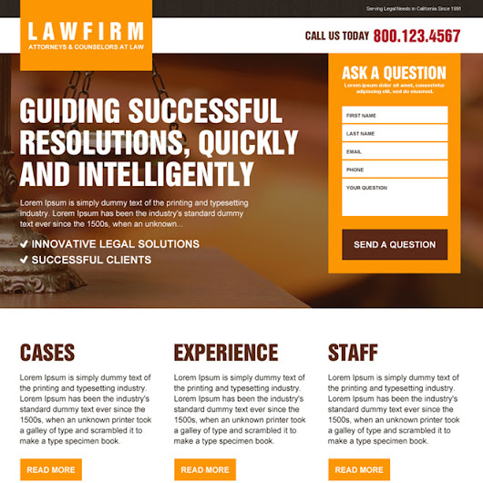 law firm lead capturing responsive landing page design