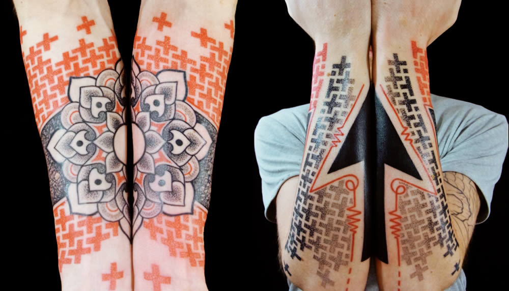 Geometric Tattoo Sleeve Flower And Arrow Tattoomagz