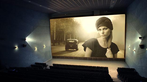 Vintage movie on cinema screen