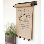"""Hanging Note Roll with 4 Antique Brass Clips - 22"""""""