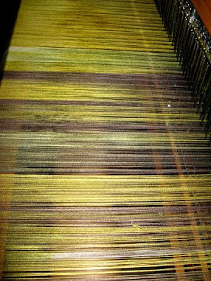 Painted silk warp on loom