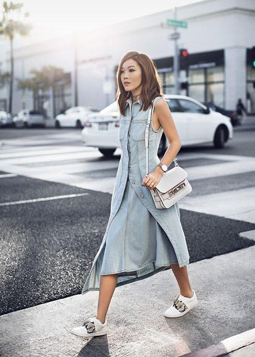 Le Fashion Blog Fashion Blogger Denim Dress White Sneakers White Bag Via Tsangtastic