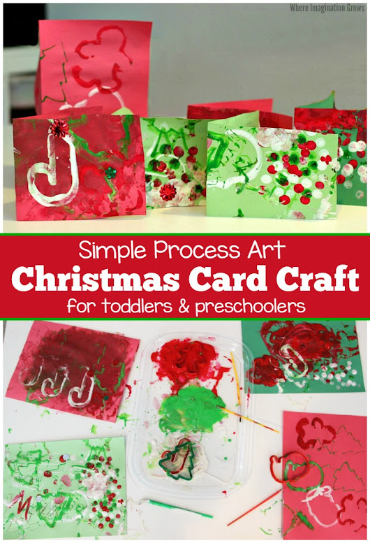 Christmas Card Process Art! Plus Tips for Cleaning Messy Art - Where Imagination Grows