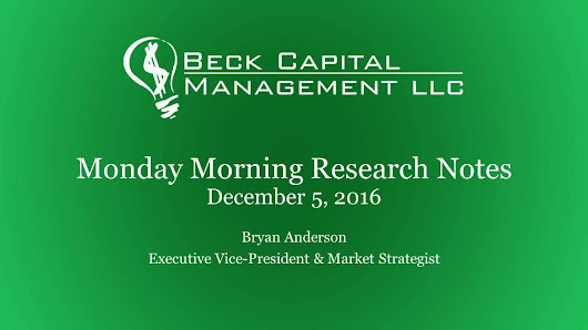 Monday Morning Research Notes - December 5th 2016 — Beck Capital Management