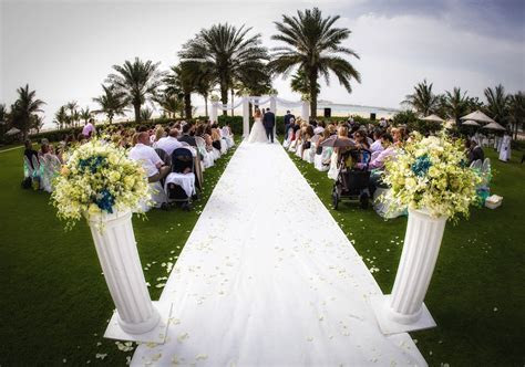 Wedding ceremony in the gardens of Dubai's Ritz Carlton