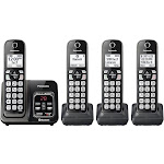 Panasonic Link2Cell Bluetooth Cordless Phone with Voice Assist and Answering Machine - 4 Handsets - Black