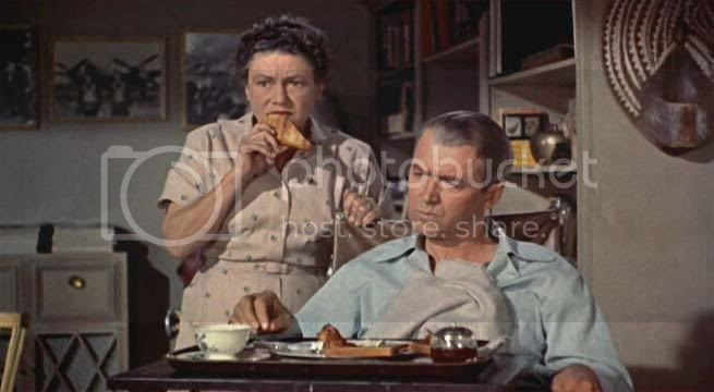 Thelma Ritter and James Stewart in Rear Window,