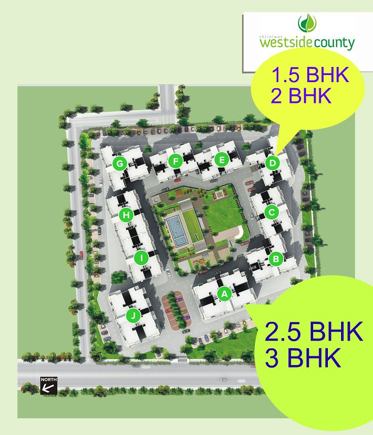 Darode Jog's Westside-County Pimple Gurav Pune 411 027: 1.5 BHK, 2 BHK, 2.5 BHK, 3 BHK Flats Layout Plan