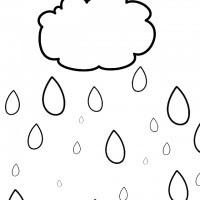 Bulut Boyama Ve Yağmur Damlası Boyama Sayfası 3