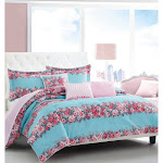 Betsey Johnson Banded Floral Comforter Set Full/Queen Turquoise