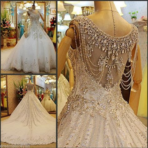yz luxury crystal bright diamond sexy fancy wedding dress