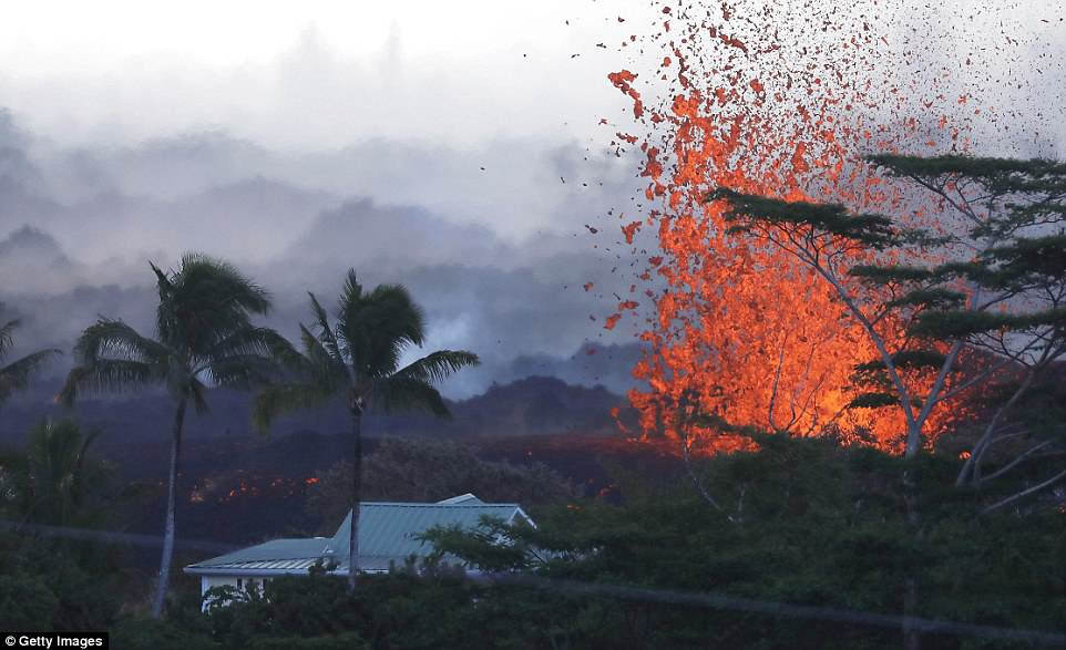 In addition to the massive expulsions of lava, the volcano is also firing out ballistics the size of refrigerators