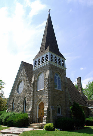 Brock Memorial Church completed in 1879 after the original building was destroyed by lightning.