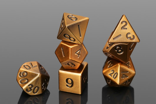 Metallic Antique Gold Polyhedral Dice Set
