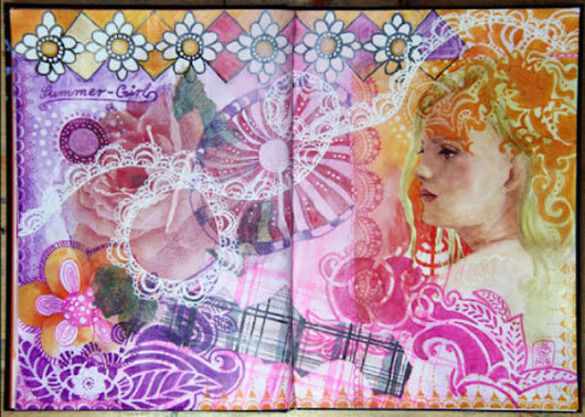 "Mixed Media-Journaling – Doppelseite ""Summer-Girl""  