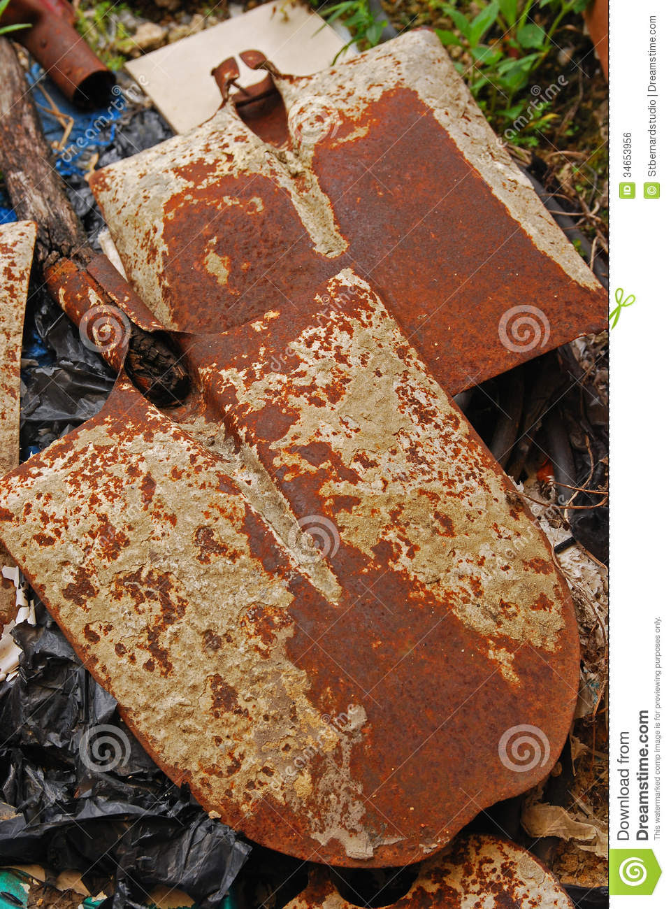 Unwanted Old Items Like Hoe At Home Outdoor Garden Royalty Free ...