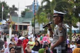 Sat Lantas Polres Tanjungpinang Ajak Tertib Berlalu Lintas Dan Berolah Raga