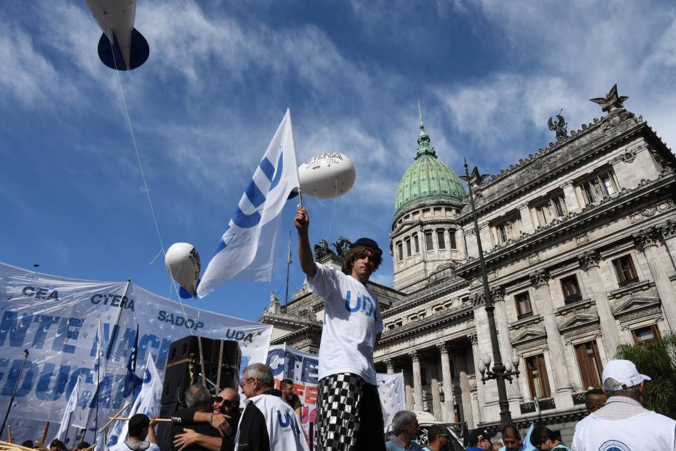 Striking Argentinean teachers stage a protest in Buenos Aires.