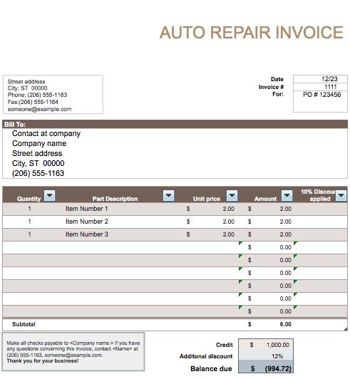 auto repair invoice template word auto repair invoice template word auto repair invoice template free invoice templates template DLipOk