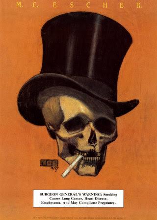 m-c-・escher-タバコをくわえた頭蓋骨