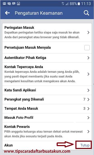 cara menonaktifkan akun facebook