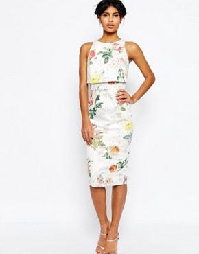 Vestido de tubo con top corto con estampado floral botánico de ASOS