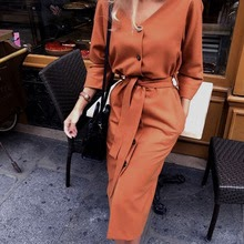 New Fashion v Neck Autumn Long Sleeve Women Dress