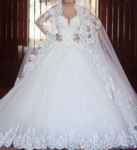 princess ball gown wedding dresses  long sleeve lace