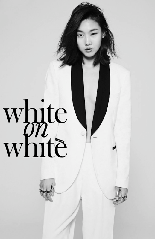 LE FASHION BLOG EDITORIAL WHITE ON WHITE MARIE CLAIRE KOREA WHITE TUXEDO PANT SUIT WITH BLACK LAPELS BLACK ACCENTS MESSY HAIR LOB LONG BOB EAR CUFF BALENCIAGA GOLD MULTIFINGER RINGS SPIRAL RINGS  Model: Han Hye Jin Photographer: Park Ji HyukStylist: Kim Noori Hair: Han Ji Sun Make-up: Won Jo Yeon 3 photo LEFASHIONBLOGEDITORIALWHITEONWHITEMARIECLAIREKOREA3.png