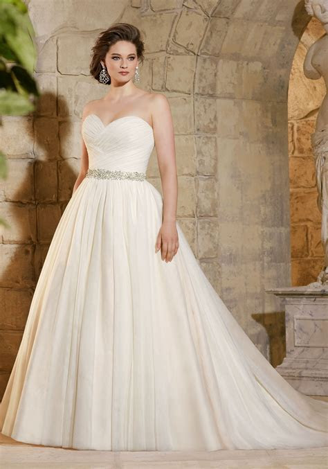 Asymmetrically Draped Soft Net Morilee Bridal Plus Size
