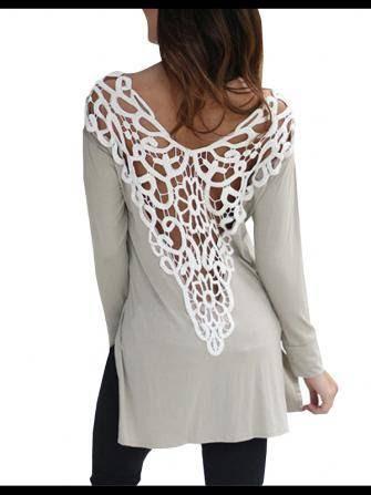 Crochet Patchwork Hollow Out Backless Split Long Sleeve Women T-Shirt