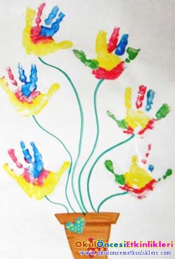 El Baskısı Saksıda çiçek Yapalım Okul öncesi Etkinlikleri