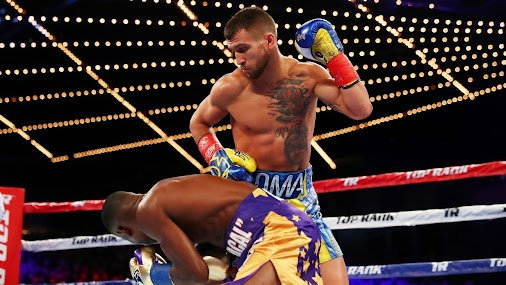 RIGONDEAUX FALLS TO LOMACHENKO  NEW YORK -- History belongs to Vasyl Lomachenko, who painted a masterpiece...