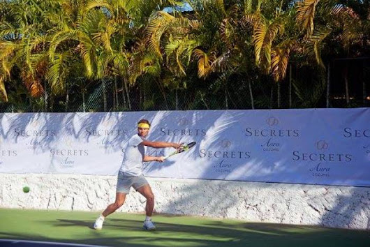 Rafael Nadal practices in a luxurious resort in Cozumel ahead of Acapulco event!