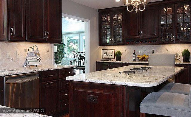 Colonial White Granite Dark Cabinets Backsplash Ideas
