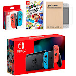 Nintendo Switch Red/Blue Joy-Con Console Bundle with an Extra Pair of Neon Red/Blue Joy-Con, Super Mario Party, and Mytrix Tempered Glass Screen Prot