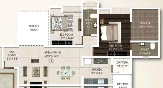 2 BHK Flat - 715 Sq.ft. Carpet + Terrace - B & C Buildings - Even Floors - Gini Viviana, Balewadi, Pune 411 045